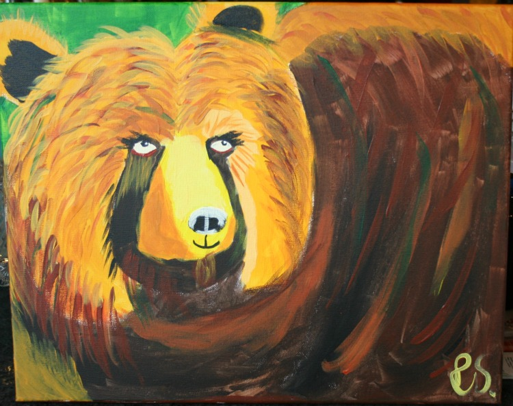 fun things to do in Missoula, Painting with a Twist, Bear with Me, bear painting