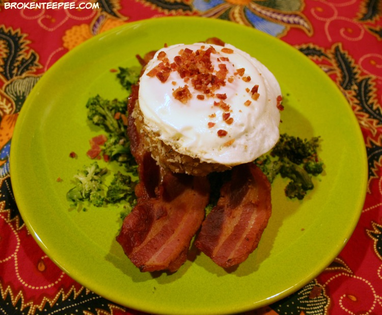 Risotto Cakes with Bacon and Eggs, leftovers recipe, risotto recipe