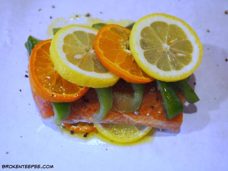 Citrus Salmon en Papillote with Tropical Fruit Salsa, salmon recipe