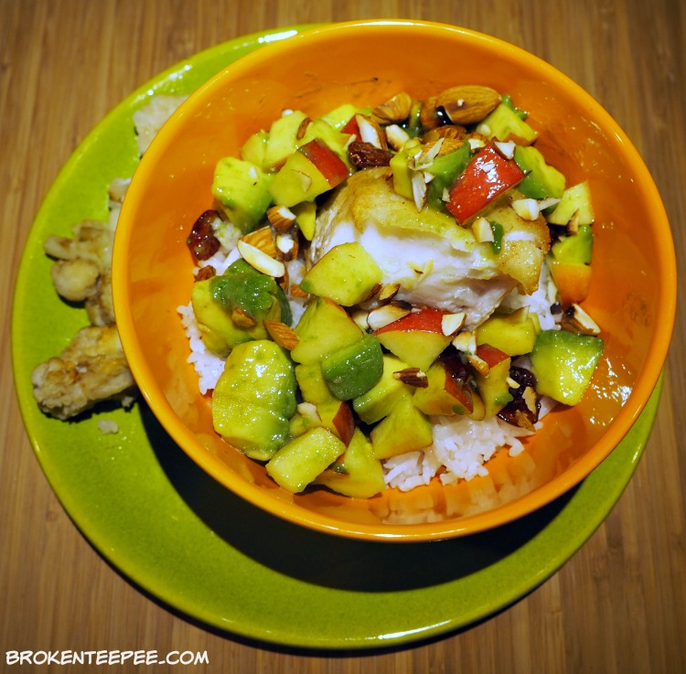 Chilean Sea Bass with Apple and Avocado in a Honey Lime Vinaigrette