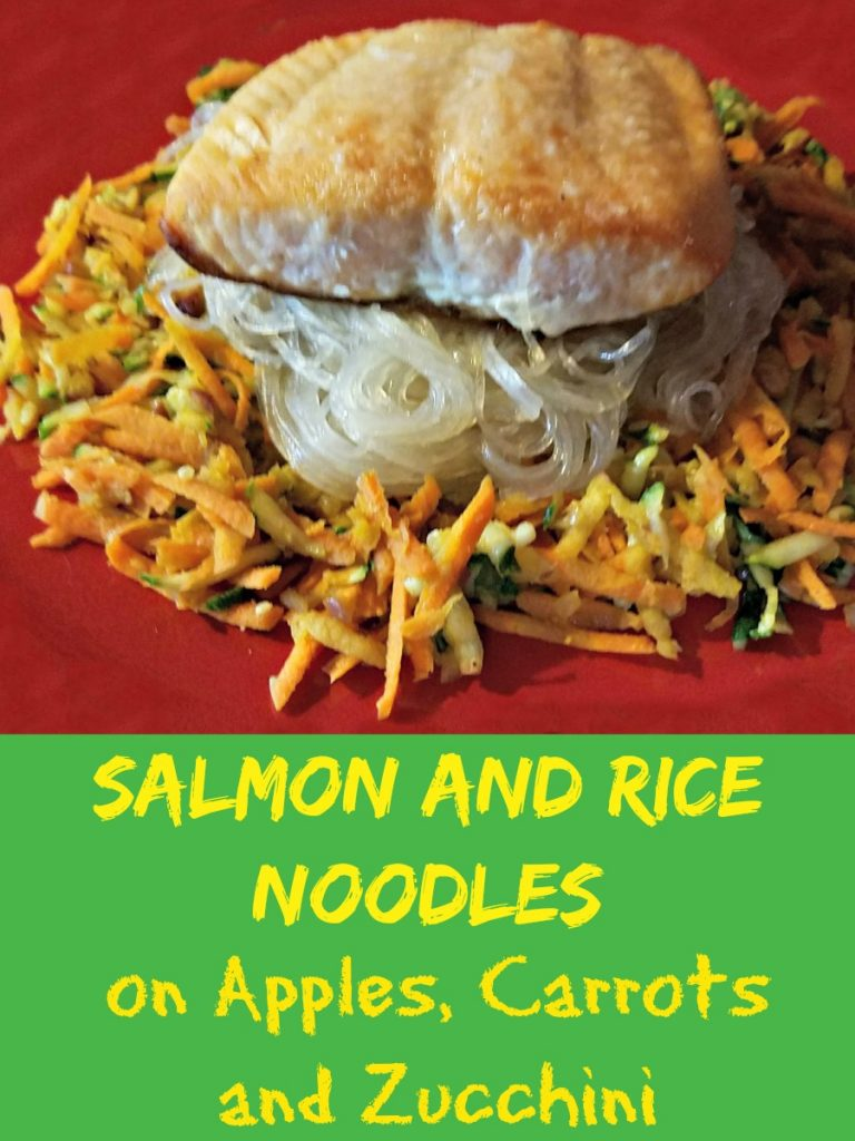apple recipe, Salmon and Rice Noodles on Apples Carrots and Zucchini, #SoFabSeasons