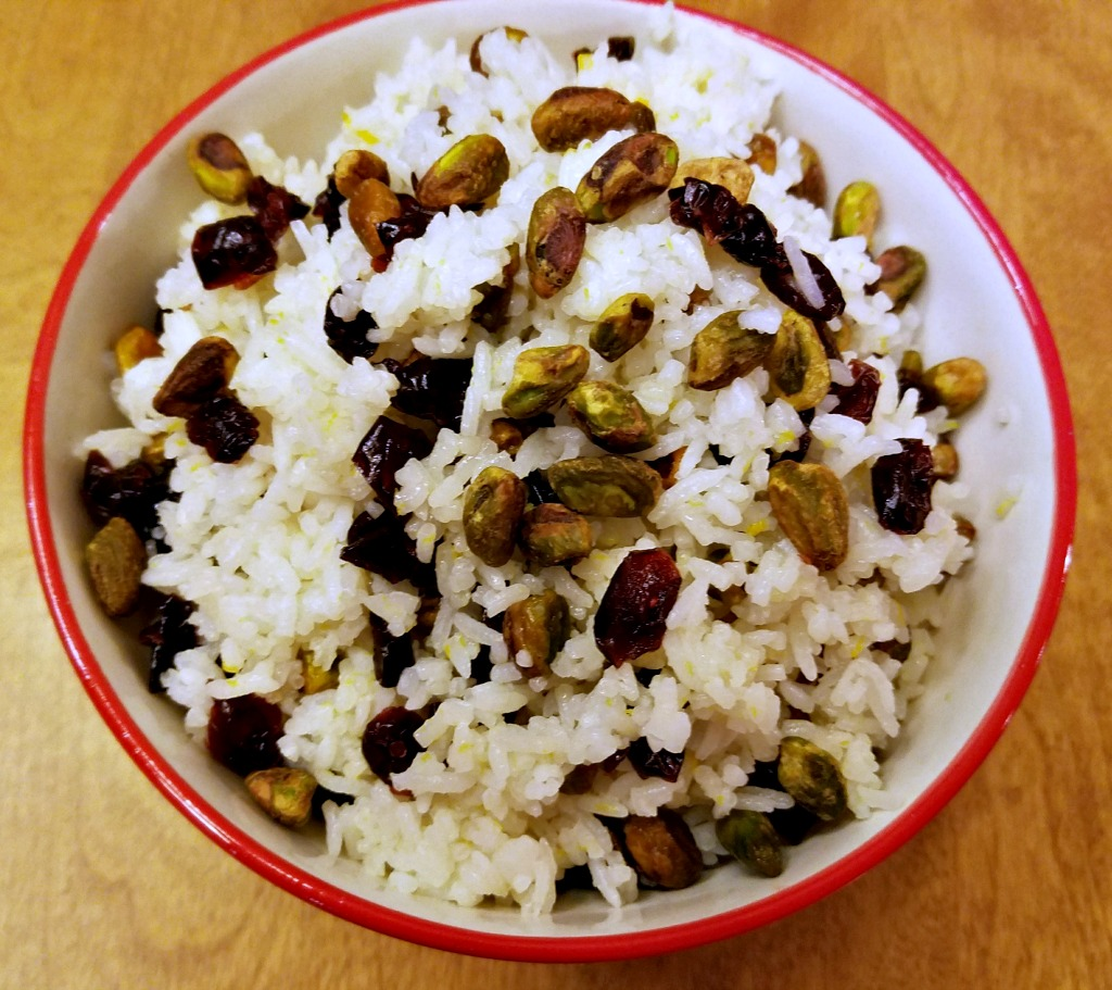 Leftover Rice Recipe – Rice with Dried Cranberries and Pistachios