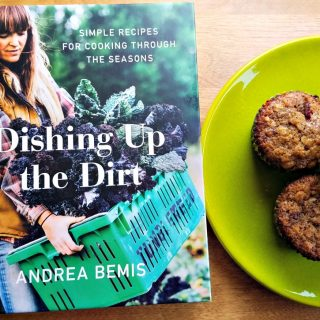 Dishing Up the Dirt by Andrea Bemis with Honey Roasted Strawberry Muffins Recipe