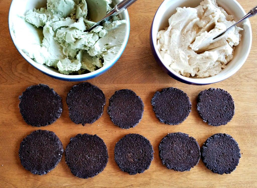 homemade sandwich cookies, sandwich cookies, chocolate cookies, mint cookies