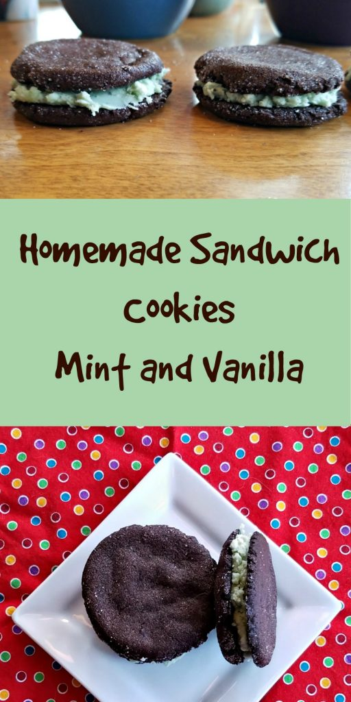 homemade sandwich cookies, sandwich cookies, chocolate cookies, mint cookies
