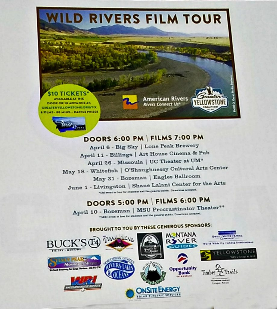 American Rivers, Greater Yellowstone Coalition, Wild Rivers Film tour, Ambrosia Restaurant Review
