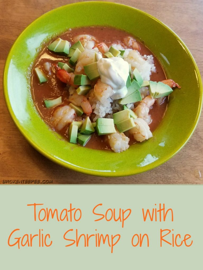 leftovers dinner recipe, Tomato Soup with Garlic Shrimp on Rice