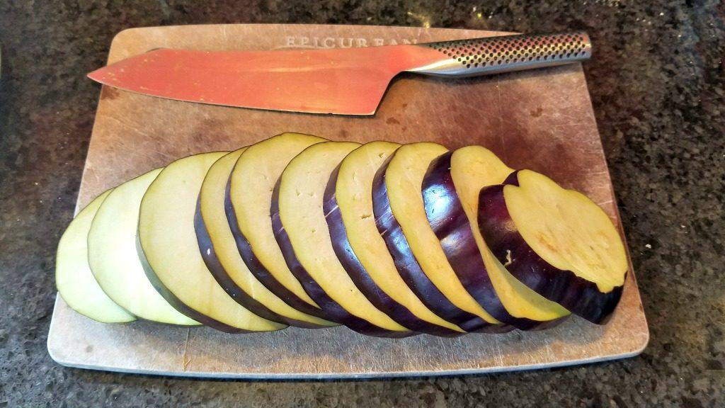 slice eggplants