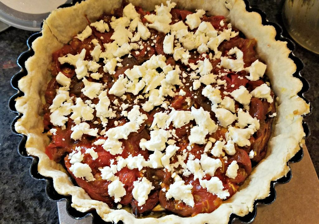 Eggplant, Tomato and Feta Tart, layer of tomatoes with feta and mozzarella