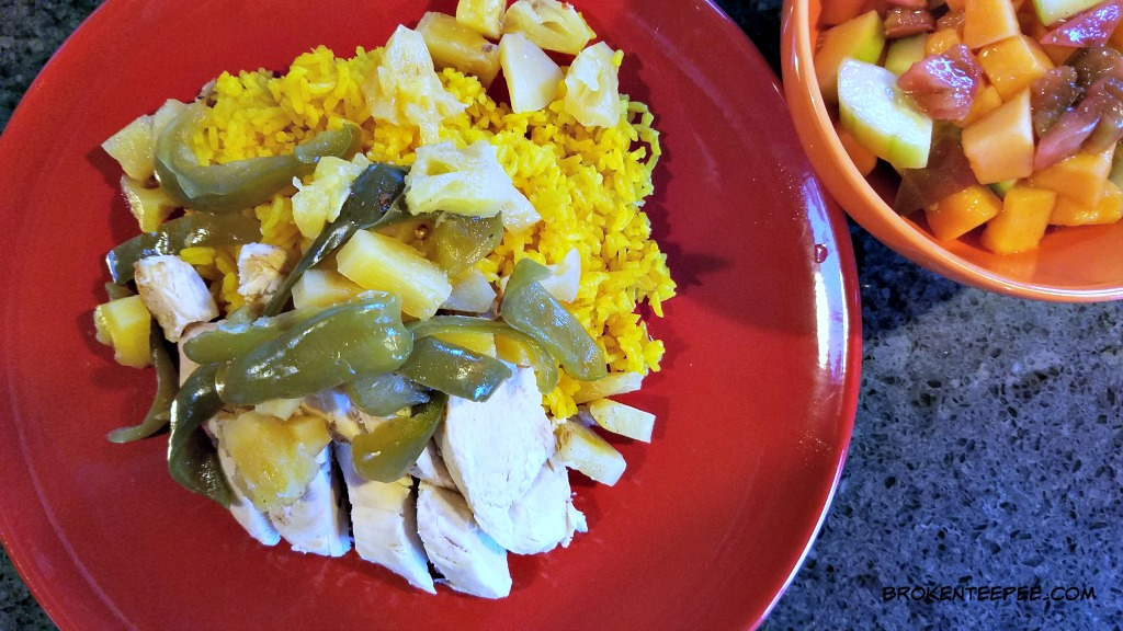 Slow Cooker Chicken with Pineapple on Turmeric Honey Rice