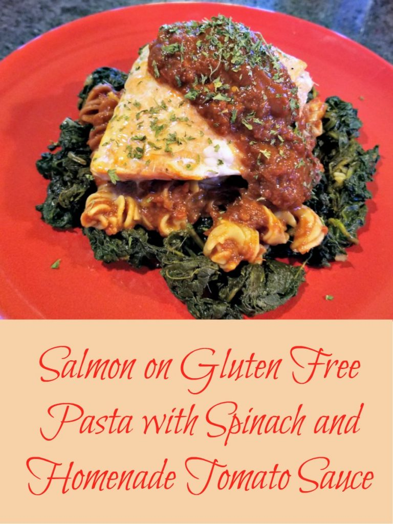 gluten free pasta, Cybele Pasta, Salmon on Gluten Free Pasta with Spinach and Fresh Tomato Sauce, AD