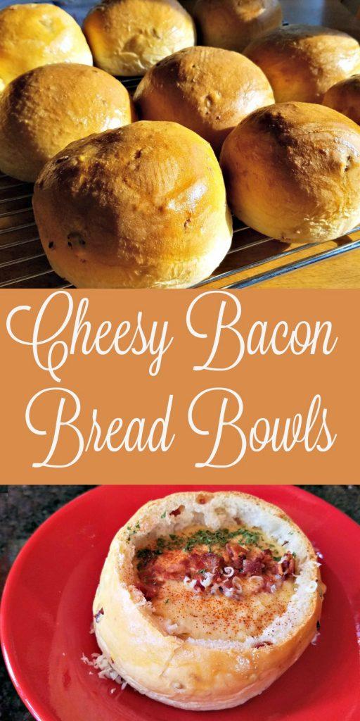 how to make bread bowls, cheesy bacon bread bowls recipe