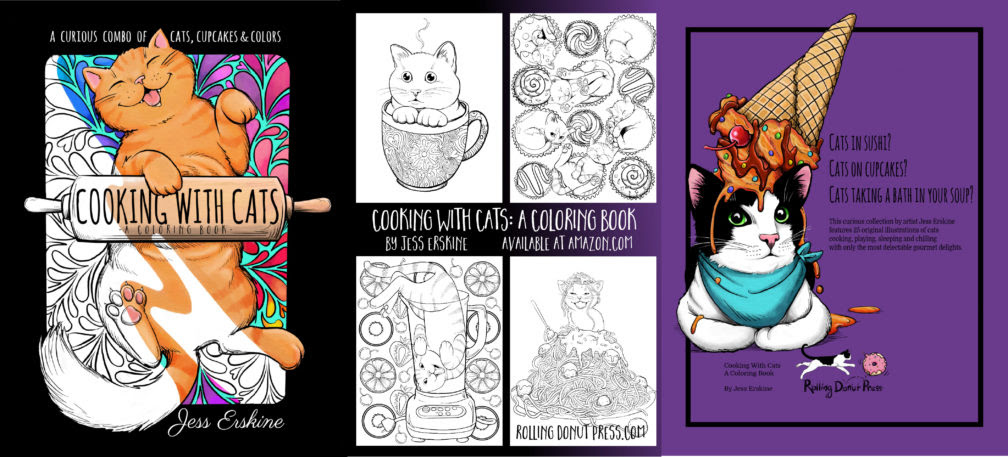gift idea for cat lovers, Cooking with Cats, coloring book, Jess Erskine, AD