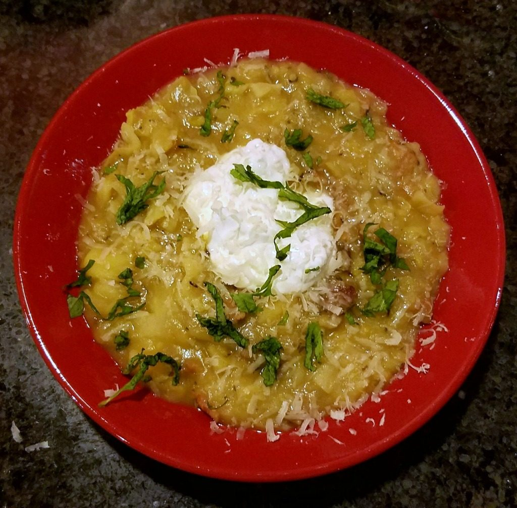 bacon potato and cabbage soup with sour cream