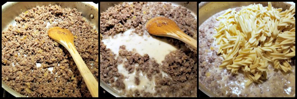 KitchenAid Pasta Press, how to make homemade fusilli, homemade fusilli, Ground Beef Stroganoff with Homemade Fusilli, easy ground beef stroganoff