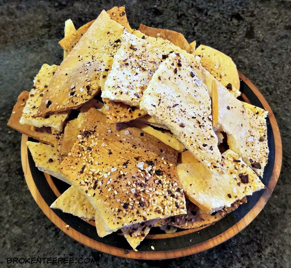 making homemade crackers, lavash