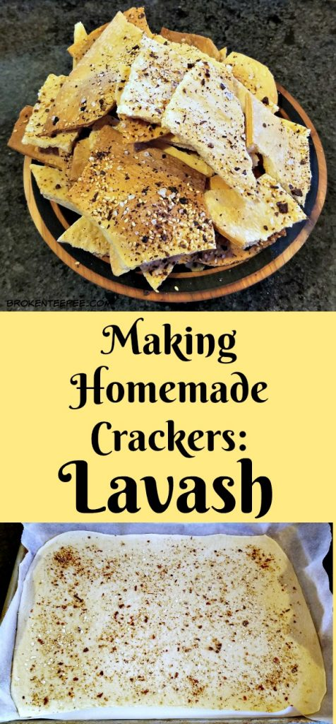 making homemade crackers, lavash