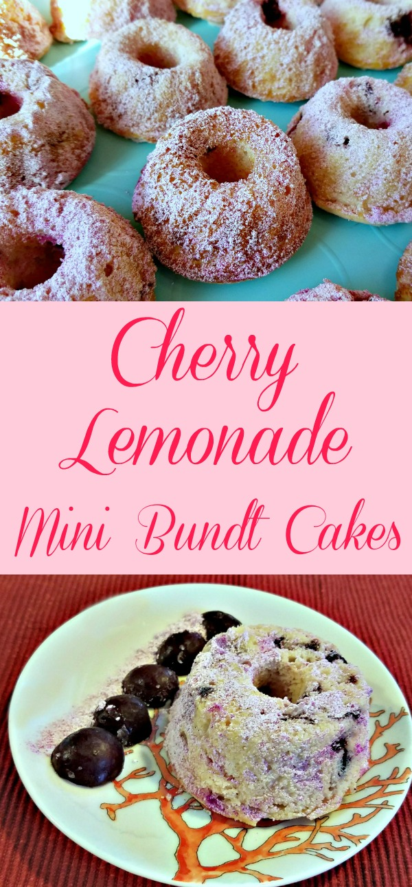 cherry lemonade mini bundt cakes, mini bundt cakes recipe, lunchbox bundt cakes, cherry recipe