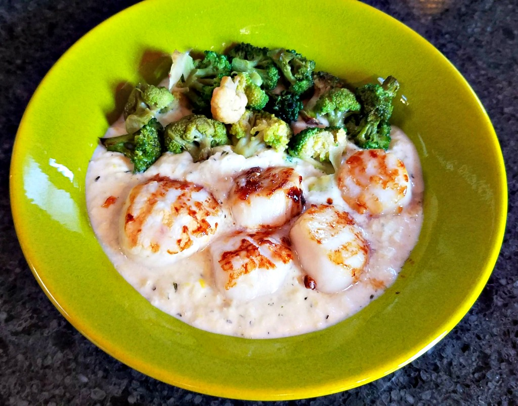 Grilled Scallops recipe,, grilled scallops on Thyme Creamed Corn with Broccoli, Swiss Diamond, AD