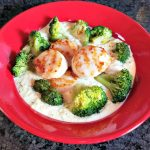 Grilled Scallops on Thyme Creamed Corn with Broccoli – Recipe