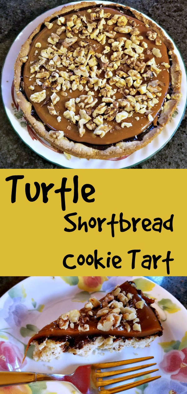 turtle shortbread cookie tart recipe, turtle shortbread, shortbread