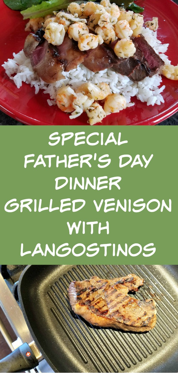Father's Day Gift Ideas, Father's Day dinner, grilled venison with langostinos, recipe, Swiss Diamond Grill Pan, Kebabs Cookbook, AD