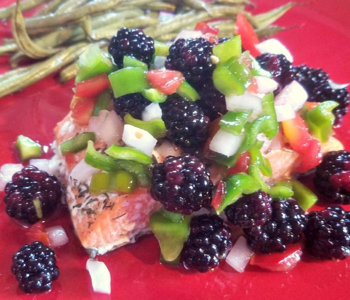 Blackberry Recipes: Salmon en Papillote with Blackberry Honey Salsa