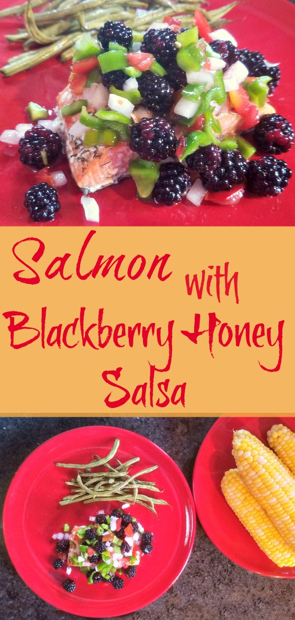 blackberry recipes, salmon en papillote with blackberry honey salsa, blackberry salsa, 30 minute dinner, salmon dinner
