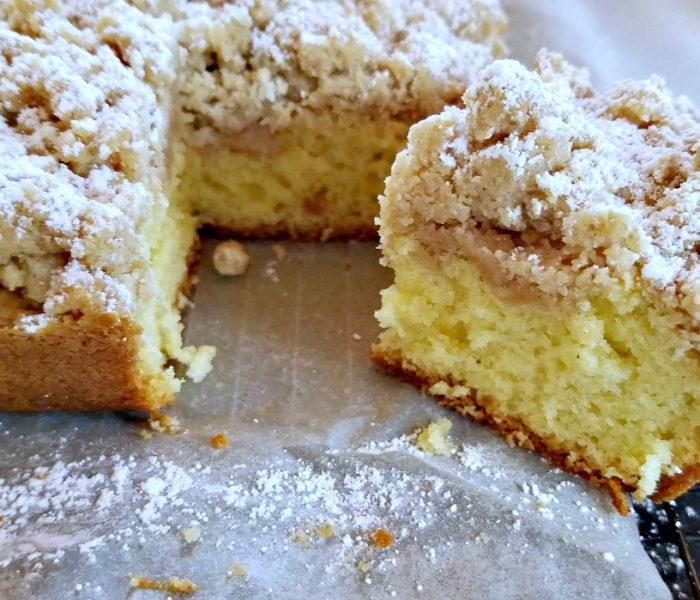 New York Crumb Cake with a Cinnamon Crumb Topping