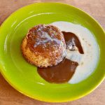 steamed pudding recipe, gooey toffee pudding, bourbon vanilla creme anglaise