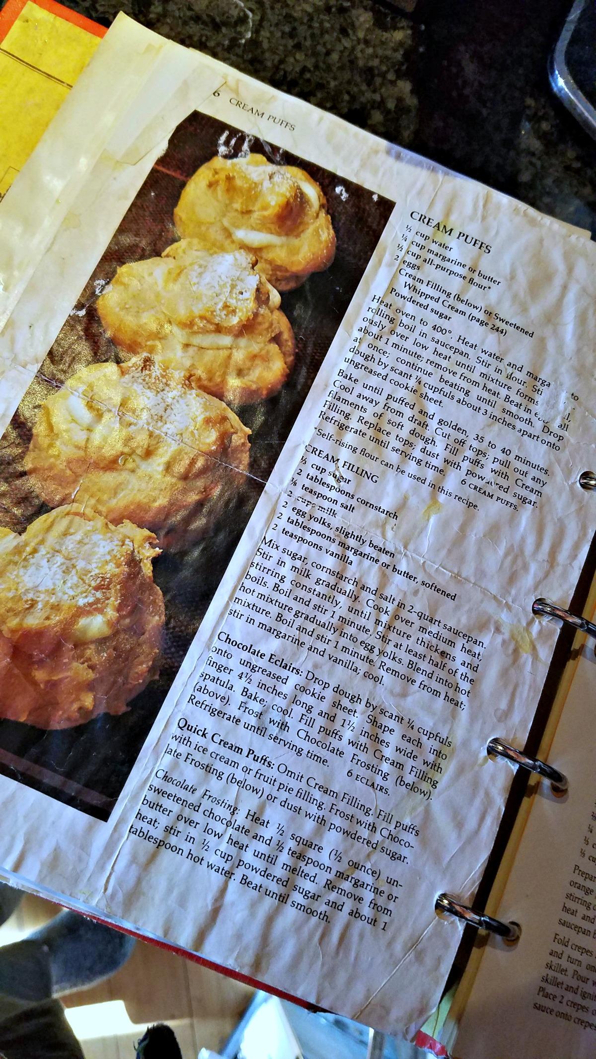 Betty Crocker Cookbook, cream puff recipe, cream puffs with spiced ice cream and salted caramel, cream puffs with ice cream, ice cream choux pastry