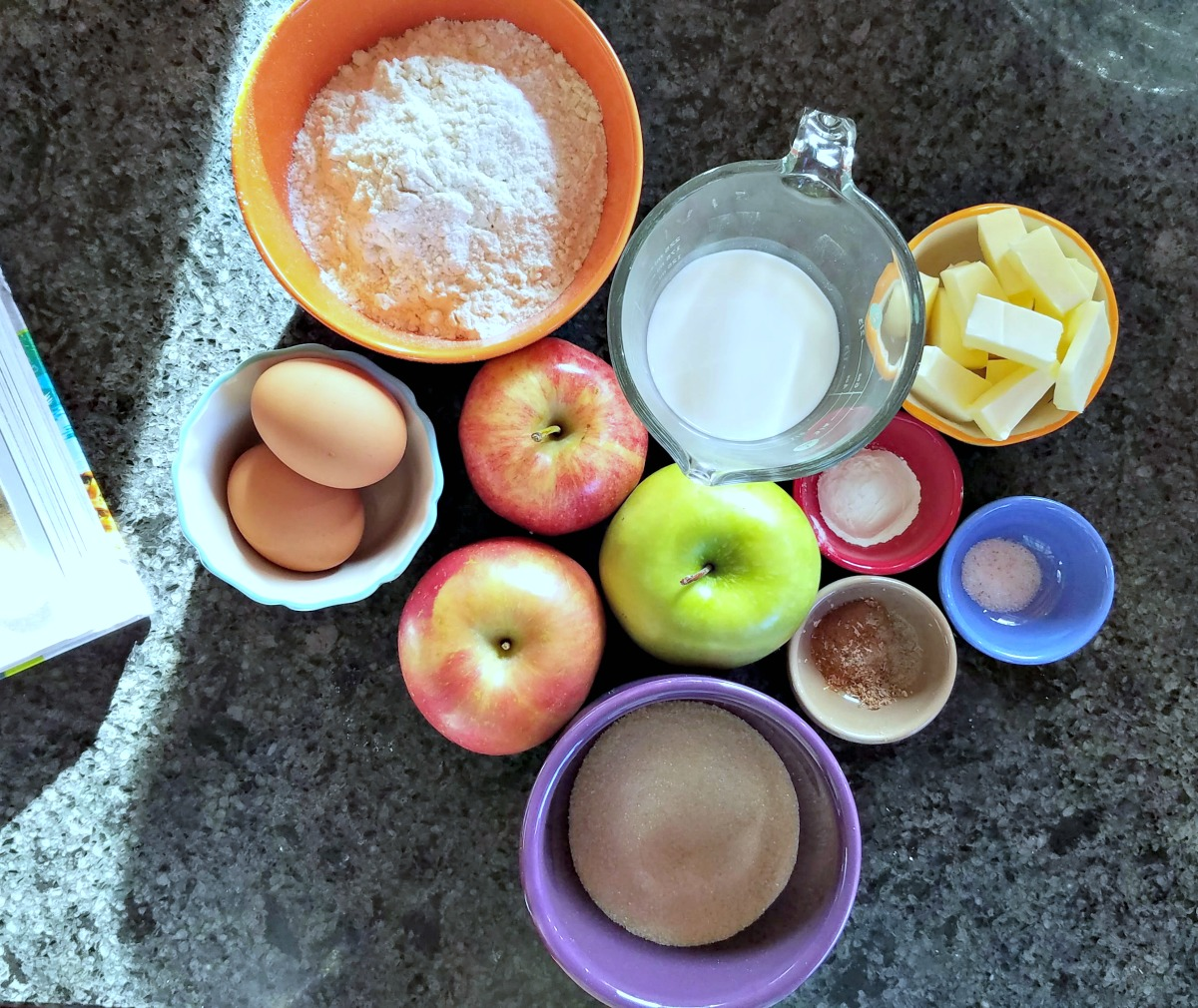 easy apple cake recipe, apple cake, apple cake with vanilla whipped cream, coffee cake, tray bake
