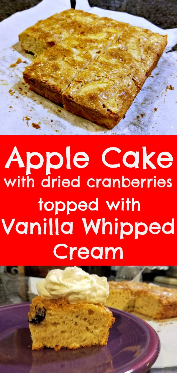 easy apple cake recipe, apple cake, apple cake with vanilla whipped cream, coffee cake, tray bake