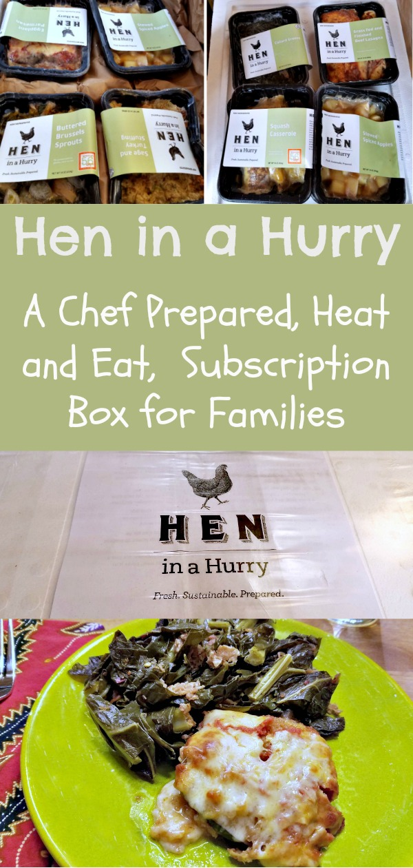 Hen in a Hurry, heat and eat dinner in a box, chef prepared meal subscriptions service, AD