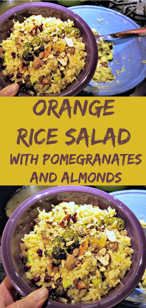 orange rice salad, rice salad recipe, vegetarian rice salad
