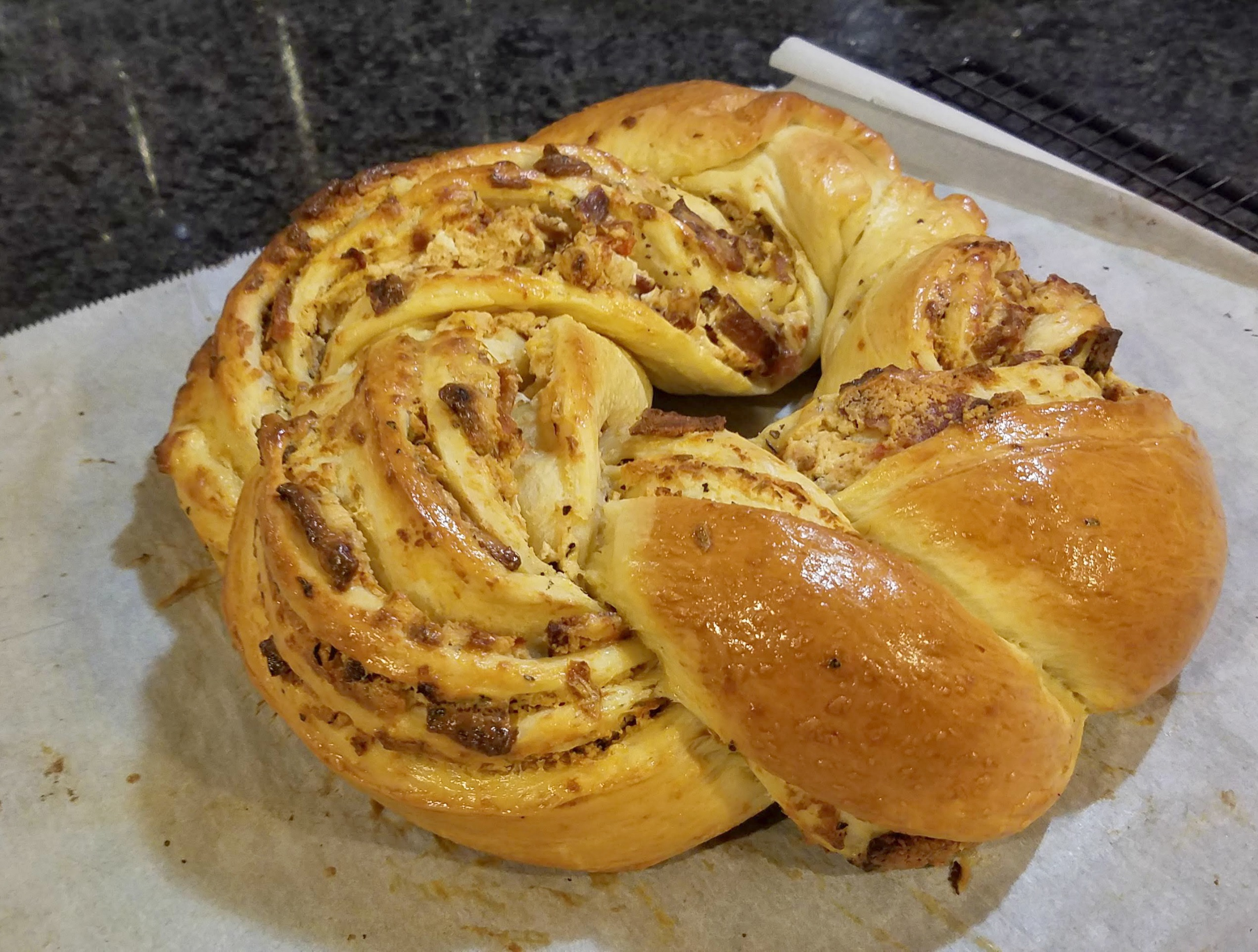 game day recipe, savory couronne, goat cheese bacon and sundried tomato couronne, party food