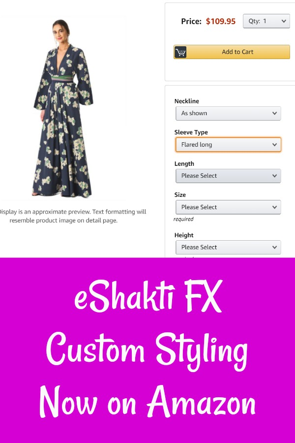 eShakti Custom Styling now on Amazon, eShakti FX on Amazon, AD