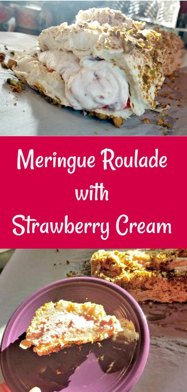 Valentine's Day Dessert, meringue roulade, roulade, meringue roulade with strawberry cream