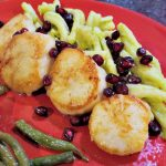 scallops recipe, celebration dinner, easy scallops recipe, pan seared spiced scallops on avocado pasta with pomegranate