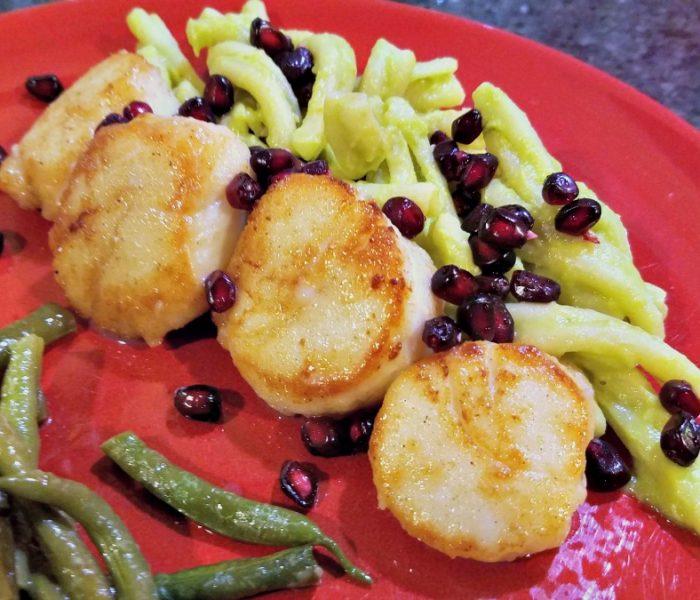 Easy Scallops Recipe – Pan Seared Spiced Scallops on Avocado Pasta with Pomegranate