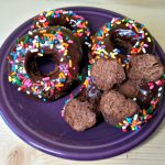 chocolate cake donuts, cake donuts, donuts, chocolate cake donuts with chocolate glaze, great british bake off bakealong