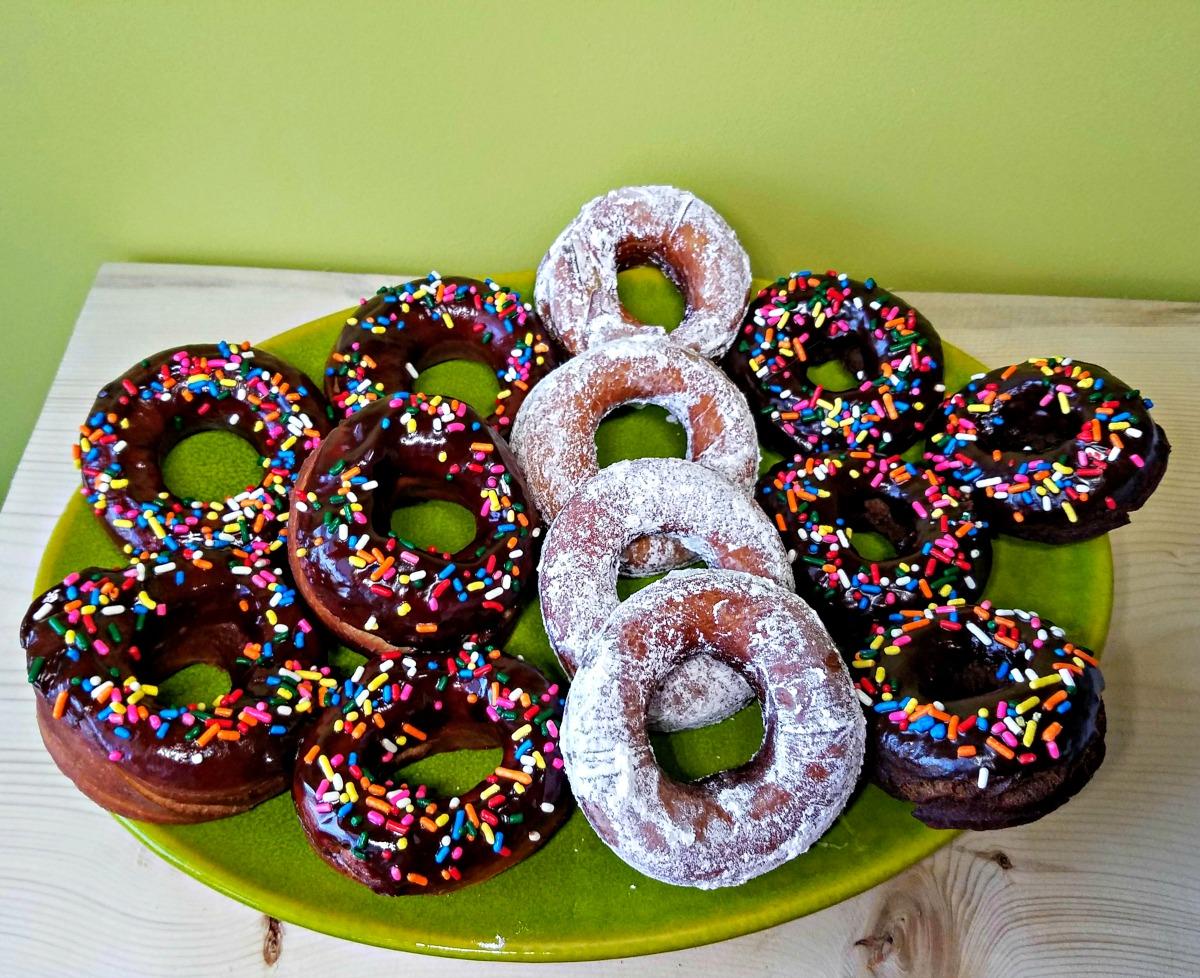 chocolate cake donuts, cake donuts, donuts, chocolate cake donuts with chocolate glaze, great british bake off bakealong