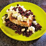 salmon recipe, easy salmon recipe, spicy salmon recipe, spiced salmon on sticky rice with honey lemon apples and pomegranate