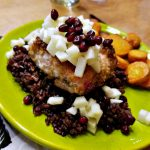 Easy Salmon Recipe: Spiced Salmon on Sticky Rice with Honey Lemon Apples and Pomegranate