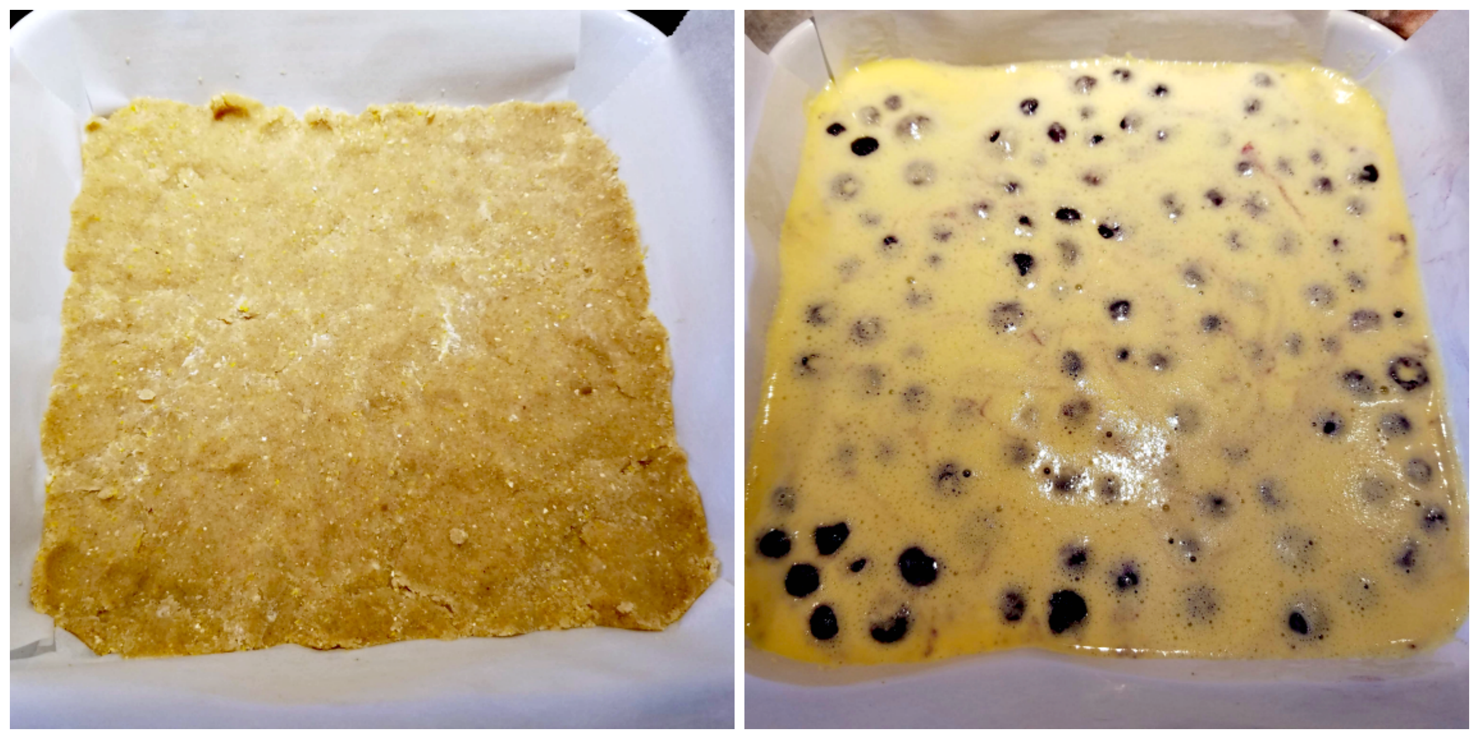 getting blueberry buttermilk pie bars ready to bake