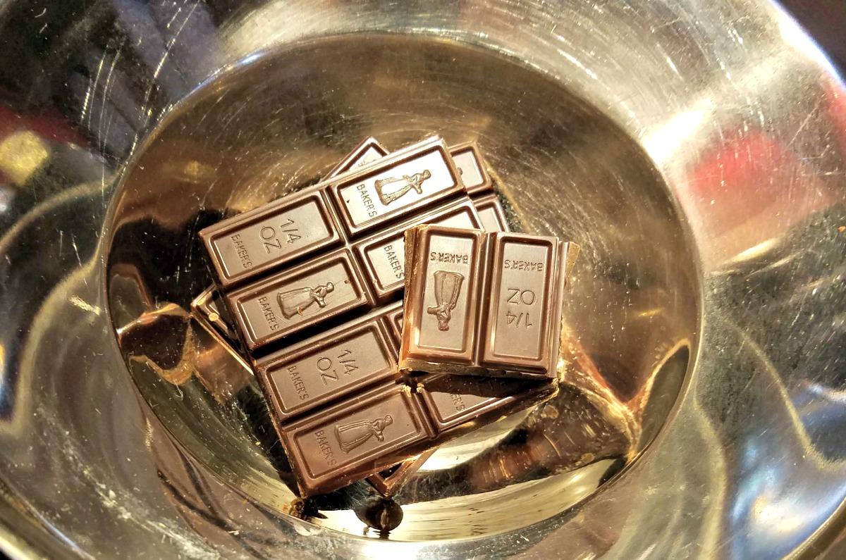 German chocolate in double boiler