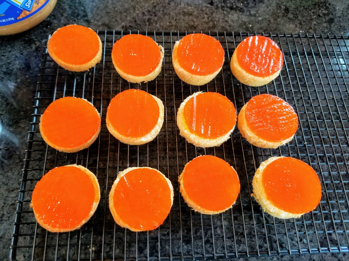 Jello discs on Jaffa Cakes bases
