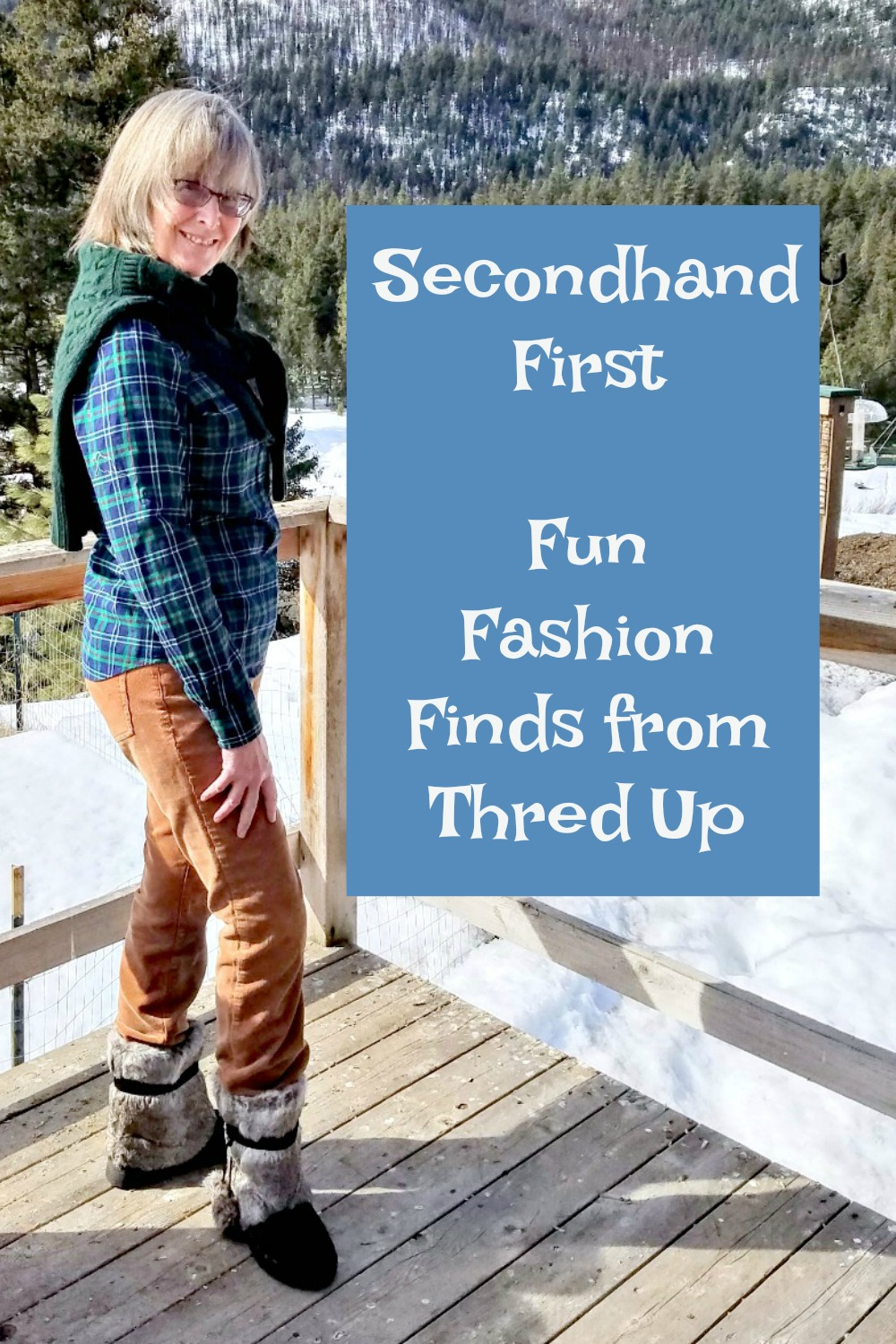 secondhand first, Thred Up, cords, shirt and sweater
