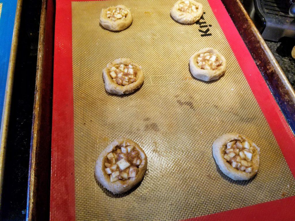 filled apple pie cookies before baking