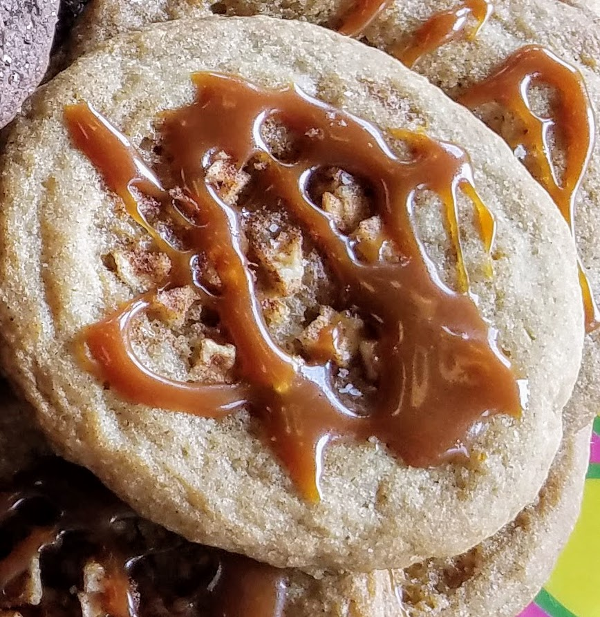 drizzle caramel sauce on cookies